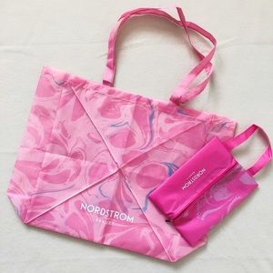 Nordstrom Pink Large Non-woven Tote Bag Zip Pouch